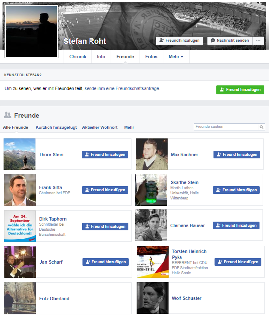 "Stefan Thormanns (FB-Name ""Stefan Roht"") Facebook-Freundesliste"